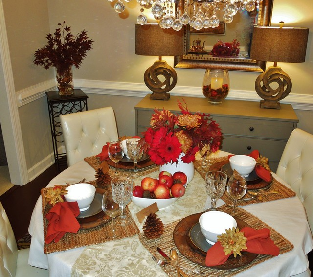 Thanksgiving Tablescape  Transitional  Dining Room