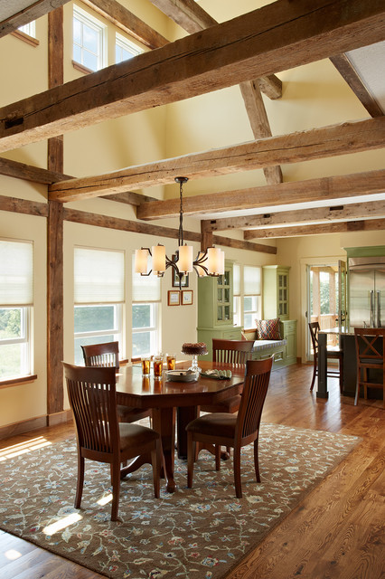 The Barn Great Room Dining room clerestory windows reclaimed wood beams woo - Colonial House Designs And Floor Plans