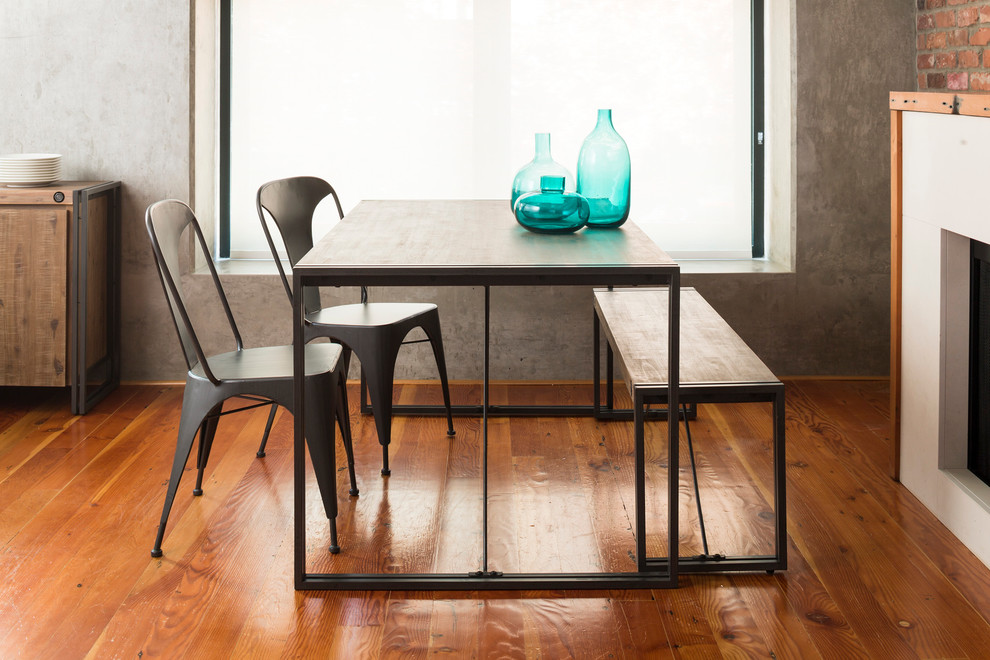 Inspiration for a small industrial dark wood floor kitchen/dining room combo remodel in Dallas