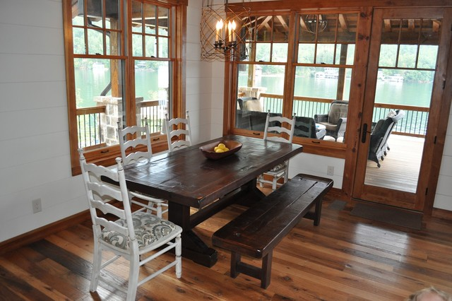 The Emerson Rustic Trestle Table with Bench - Traditional - Dining ...
