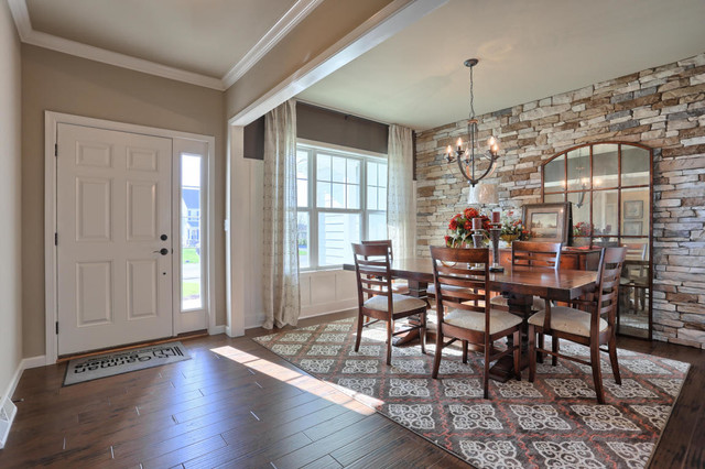 the entryway and formal dining room - transitional - dining room