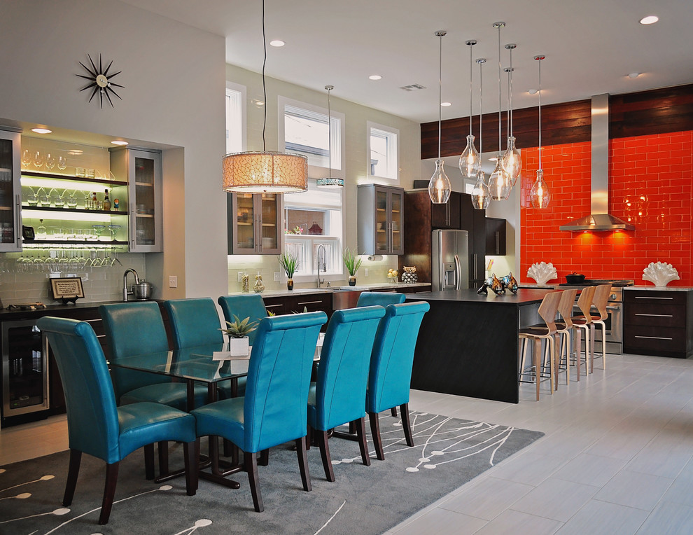 Kitchen/dining room combo - large contemporary kitchen/dining room combo idea in New Orleans with gray walls