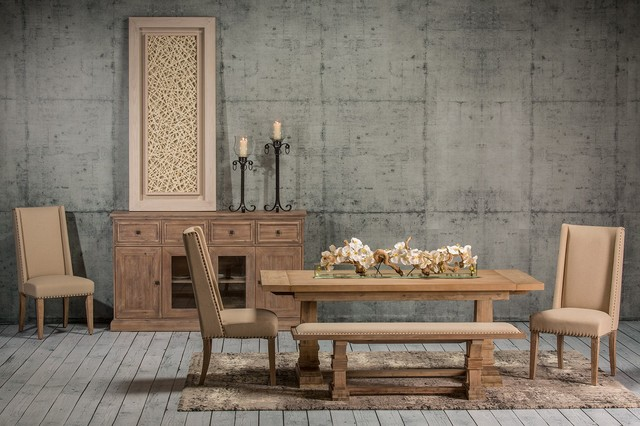 The Hudson Stonewash Table Transitional Dining Room