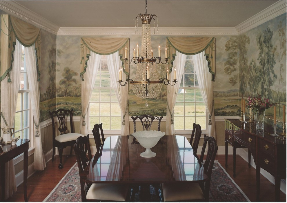 Mid-sized elegant medium tone wood floor enclosed dining room photo in Philadelphia