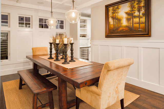 Traditional dark wood floor dining room idea in Vancouver with beige walls. Shaker style Wainscot   Houzz