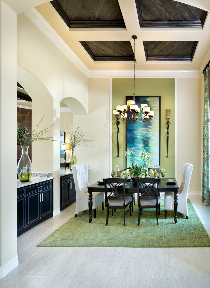 Elegant ceramic tile dining room photo in Other with beige walls