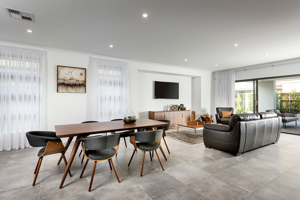 Large trendy kitchen/dining room combo photo in Perth with white walls and no fireplace