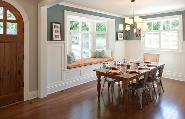Elegant Dark Wood Floor Dining Room Photo In Grand Rapids With Green Walls