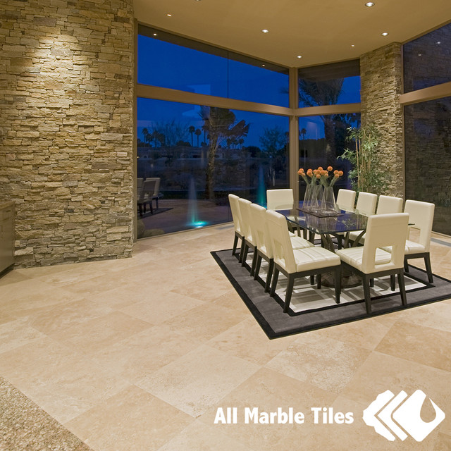 Tile In Dining Room: Tile Flooring With All Marble Tiles Beige Marble Tiles