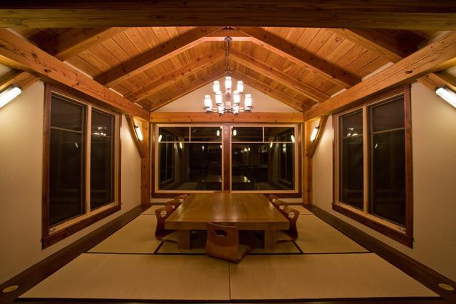 Timber Frame Home contemporary-dining-room