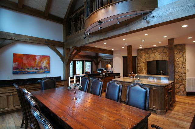 Timber Frame Lake Keowee SC traditional-dining-room