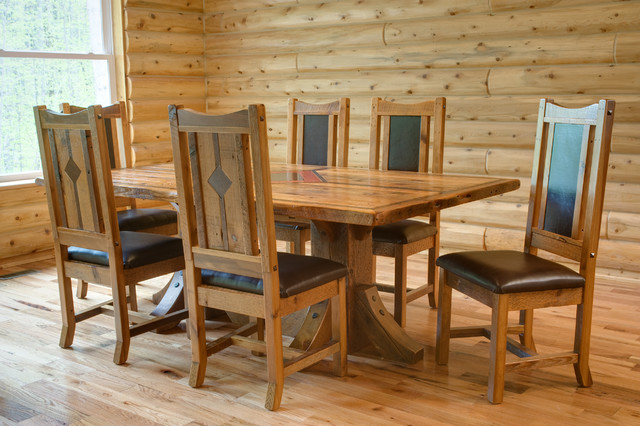 Timber frame reclaimed wood table rustic dining room