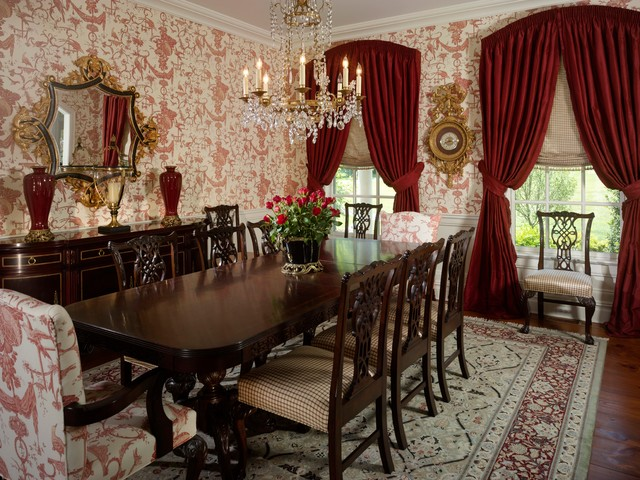 Toile Dining Room Traditional