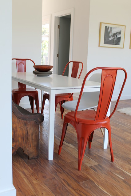 Tolix Chairs and Eames Molded Plastic Chair with IKEA White Table ...