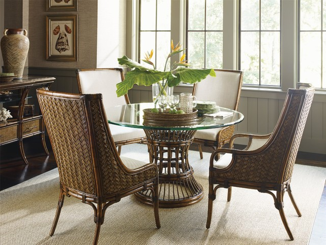 tropical 5 piece single pedestal dining room set tropical dining room