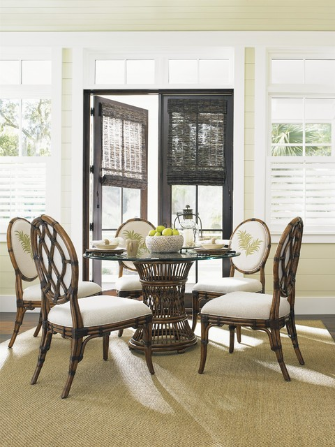 Tommy Bahama Home Bali Hai Tropical 7 Piece Single Pedestal Dining Set
