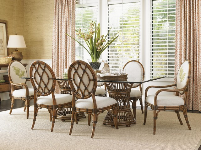 hai tropical double pedestal 7 piece dining set tropical dining room