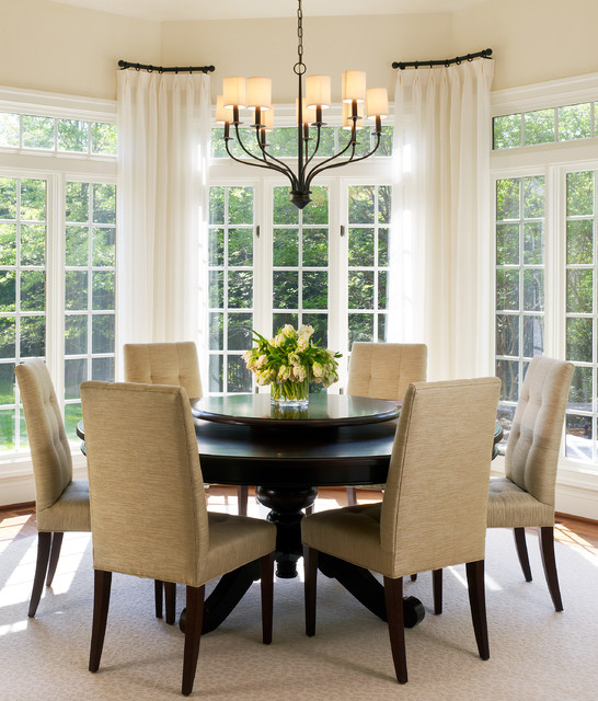 Tone on tone breakfast room transitional dining room for Dining room window designs
