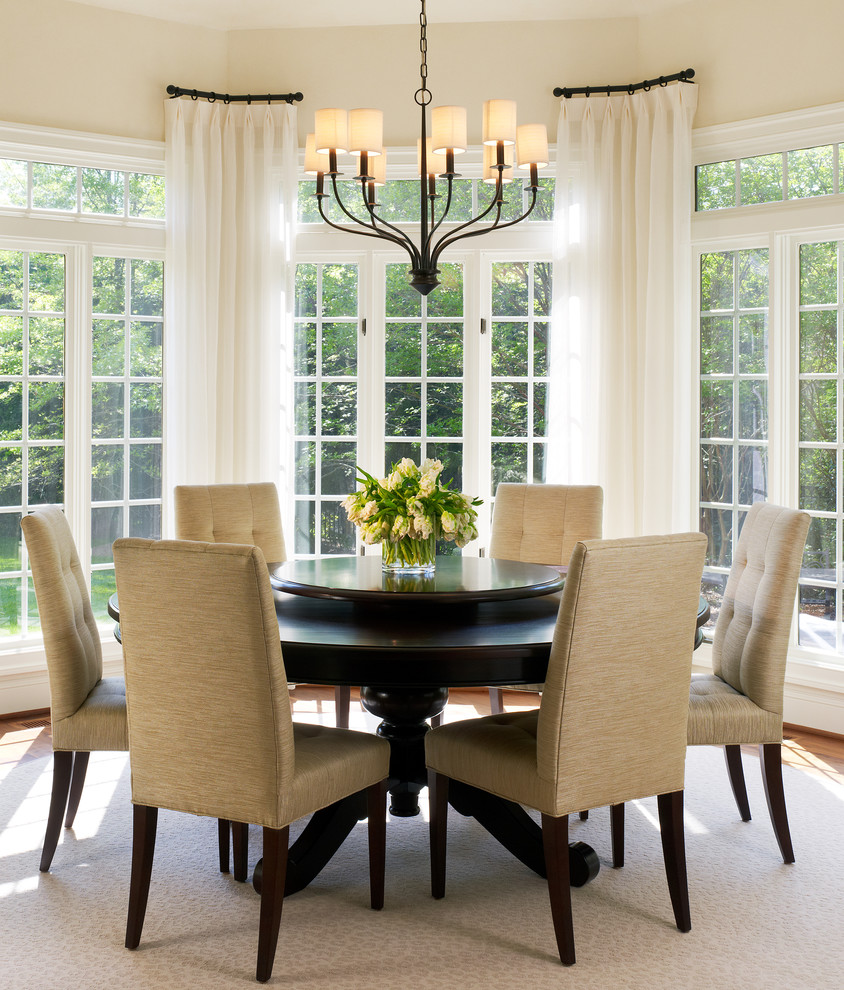 Transitional beige floor dining room photo in DC Metro with beige walls