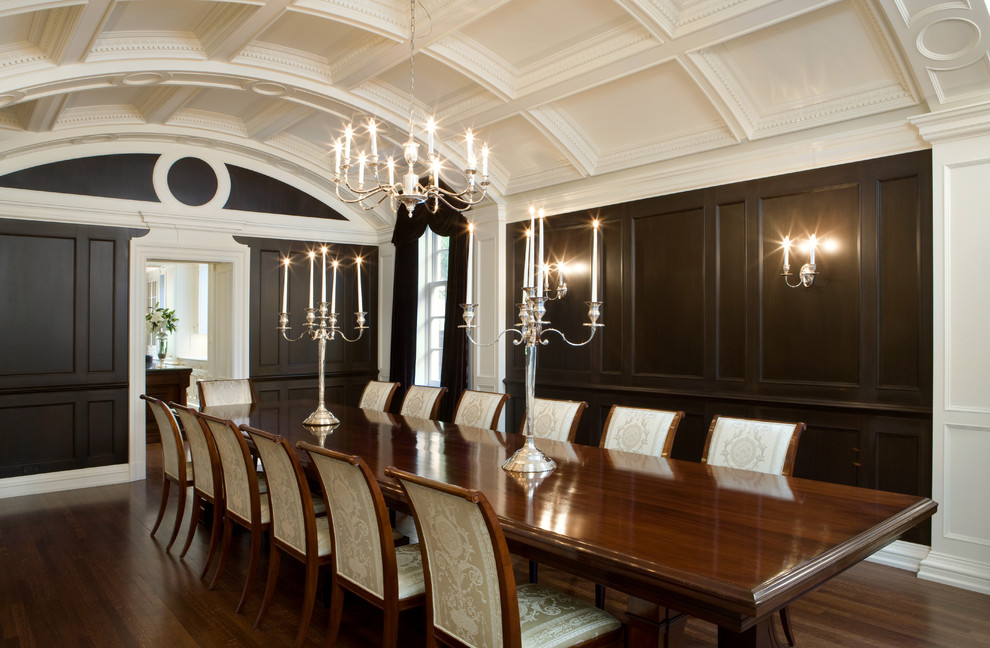 Inspiration for a large timeless dark wood floor enclosed dining room remodel in Toronto with brown walls and no fireplace