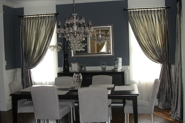 Total window treatments traditional dining room for Dining room window treatments