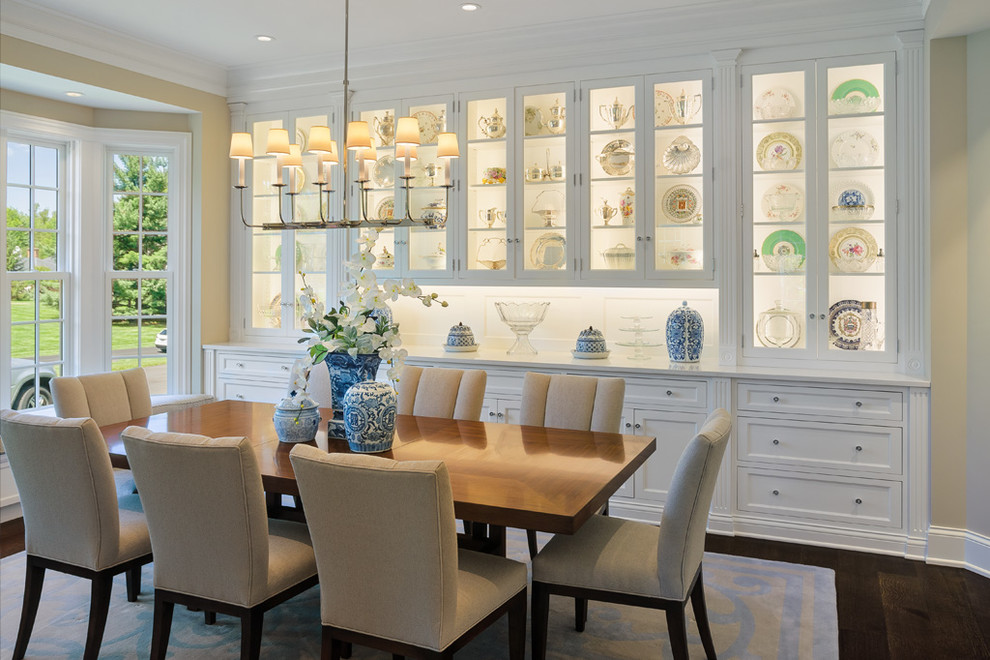 Enclosed dining room - mid-sized traditional dark wood floor enclosed dining room idea in Cincinnati with beige walls and no fireplace