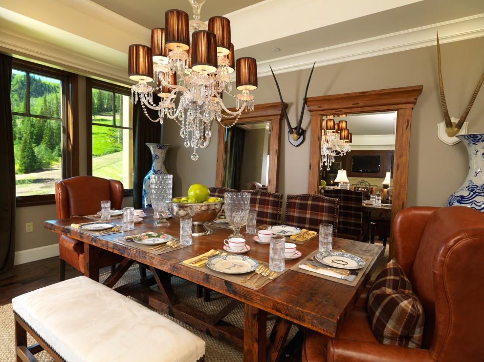 Dining room - traditional dark wood floor dining room idea in Salt Lake City with beige walls