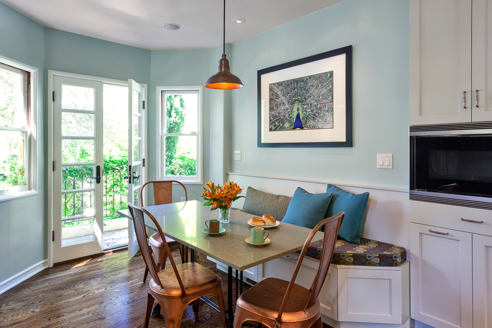 Dining room - traditional dark wood floor dining room idea in San Francisco with blue walls