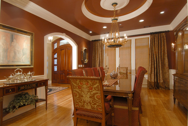 Inspiration For A Timeless Medium Tone Wood Floor Enclosed Dining Room Remodel In Other With Brown