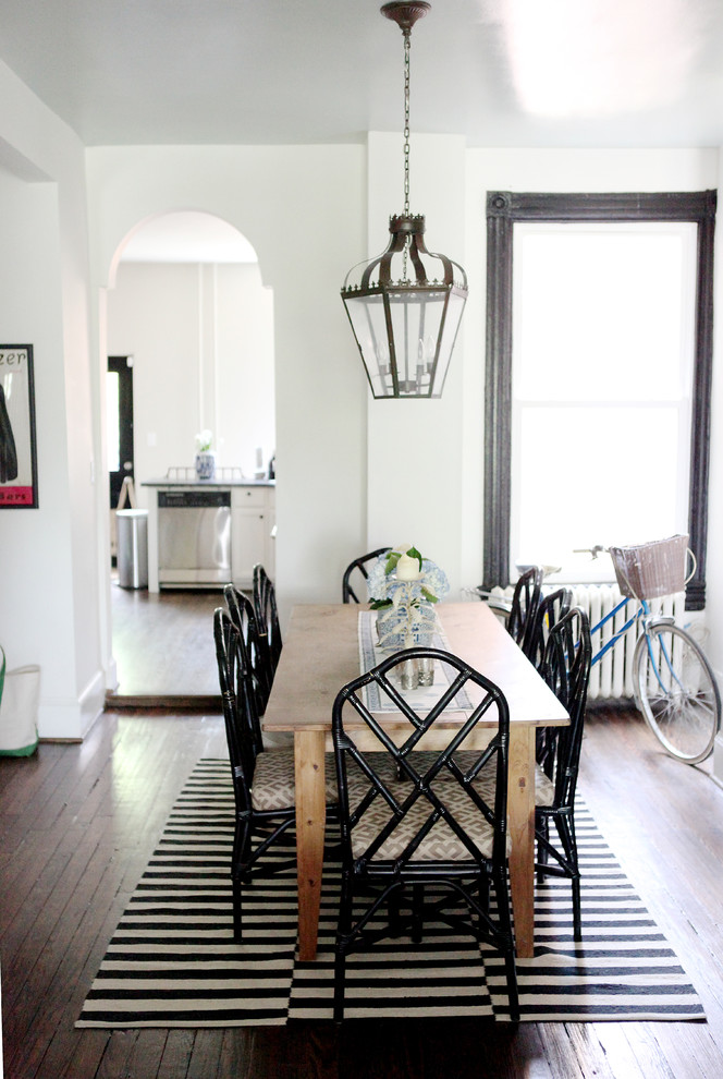 Inspiration for a timeless dark wood floor dining room remodel in DC Metro with white walls