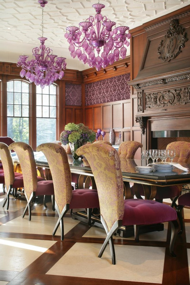 Inspiration for a timeless enclosed dining room remodel in New York with a standard fireplace