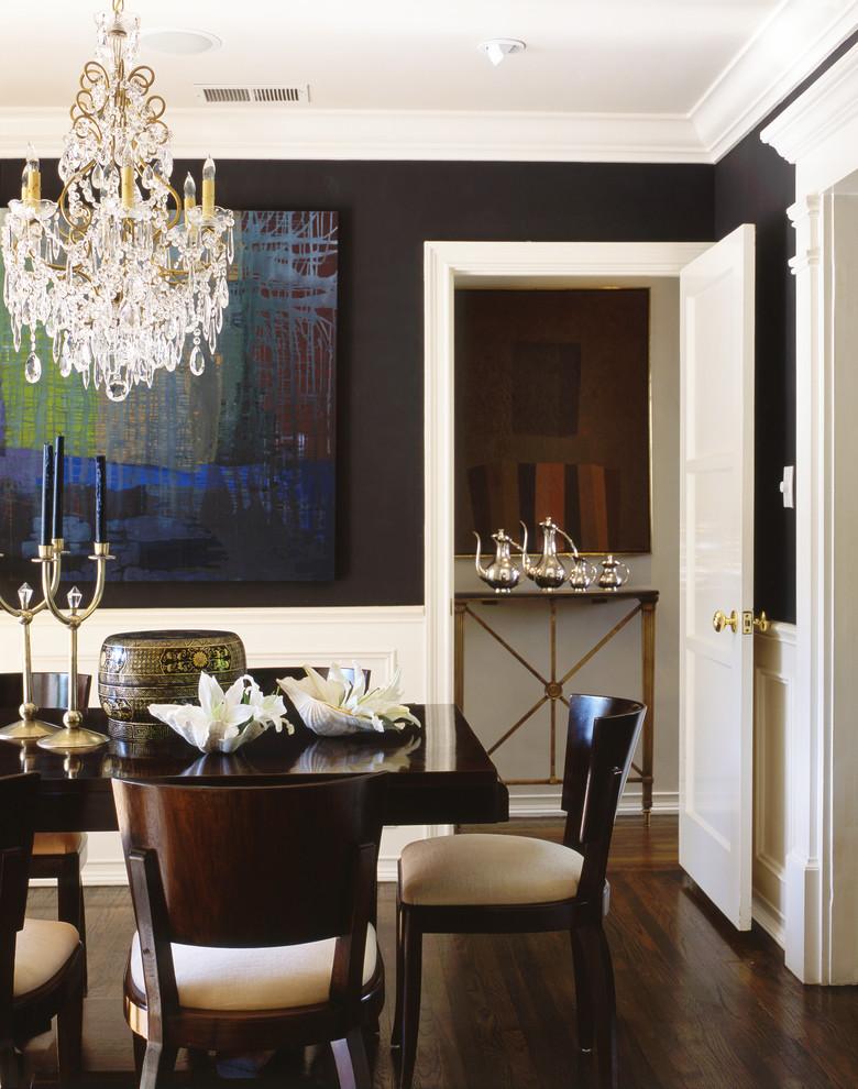 Elegant dark wood floor and brown floor dining room photo in Los Angeles with black walls