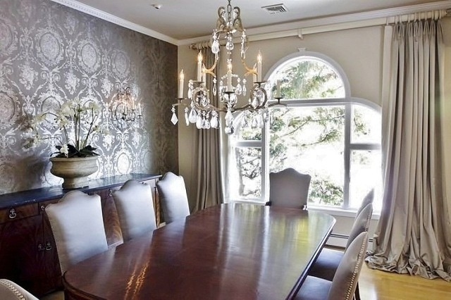 Rachel hazelton interior design traditional dining for Dining room wallpaper designs