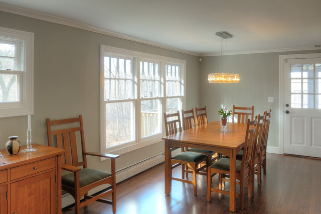 Traditional Dining Room remodel with crystal chandelier cottage