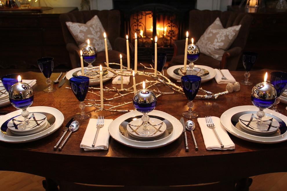 Elegant dining room photo in San Diego