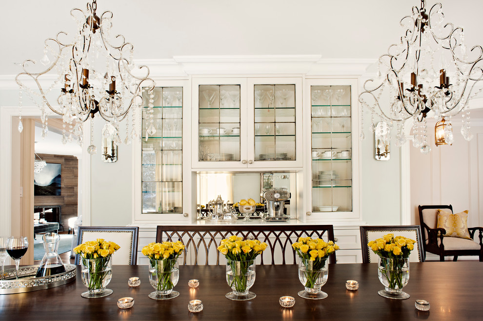 Dining room - traditional dining room idea in Toronto with white walls