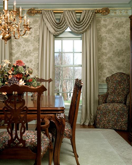 золот дерево орнаментальные обои, шторы на карнизной палке