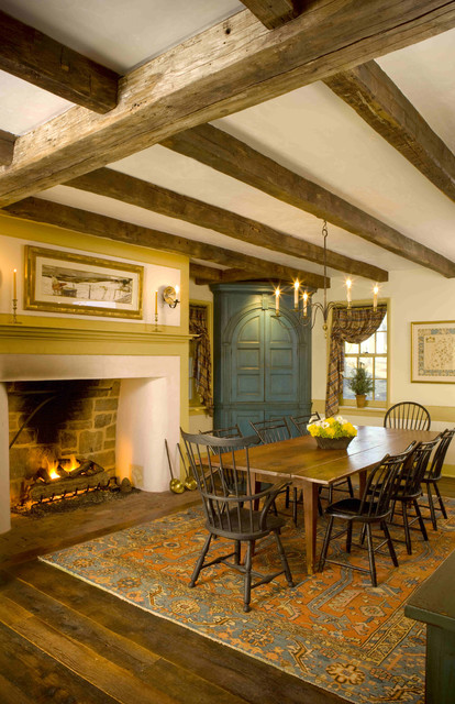 Farmhouse Dining Room with Hearth traditional-dining-room