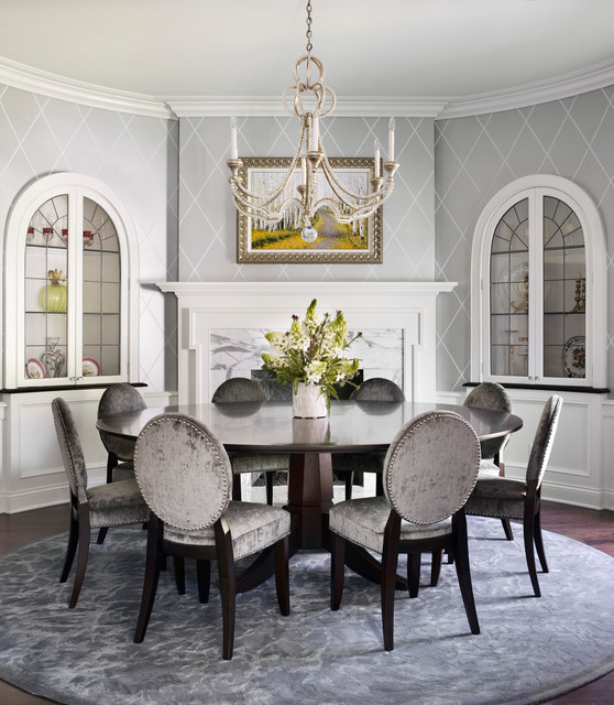 Dining Room Wallpaper Design : Traditional new construction dining room