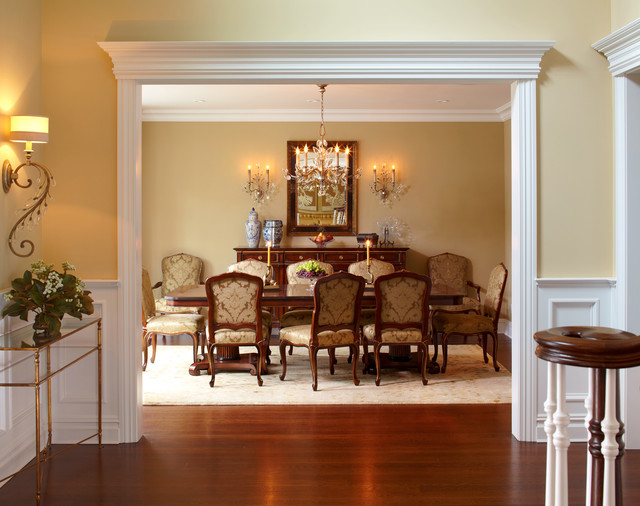 Traditional open foyer dining room transitional for The dining room ennis