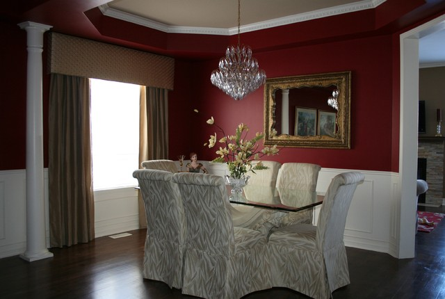 Traditional red dining room traditional dining room for Traditional red dining room