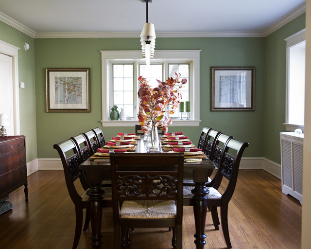 Traditional sage and cranberry dining room for Best dining rooms houzz