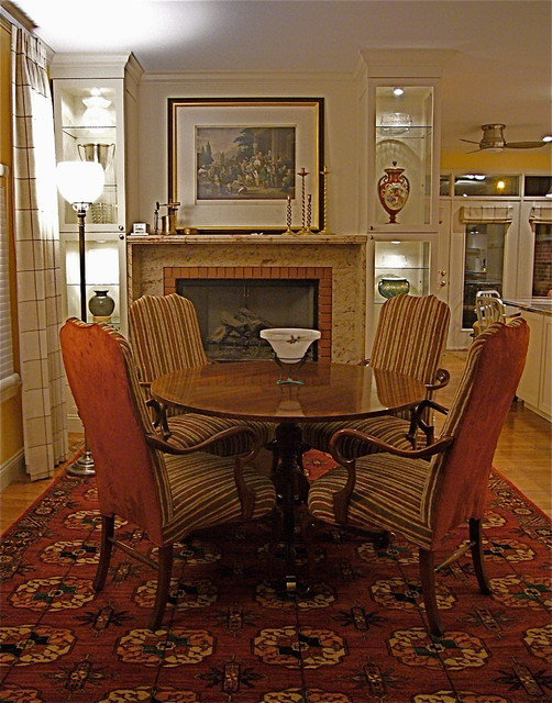 Fireplace mantles surrounds traditional dining room for Traditional dining room fireplace