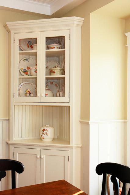 Traditional White Corner Hutch, White Corner Hutch For Dining Room
