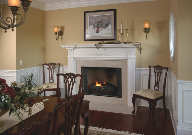 Traditional white fireplace mantel traditional dining for Traditional dining room fireplace