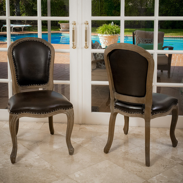 Trafford leather weathered wood dining chairs set of 2 for All wood dining room sets