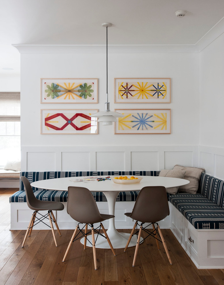 Large transitional kitchen/dining room combo photo in Auckland with white walls and no fireplace