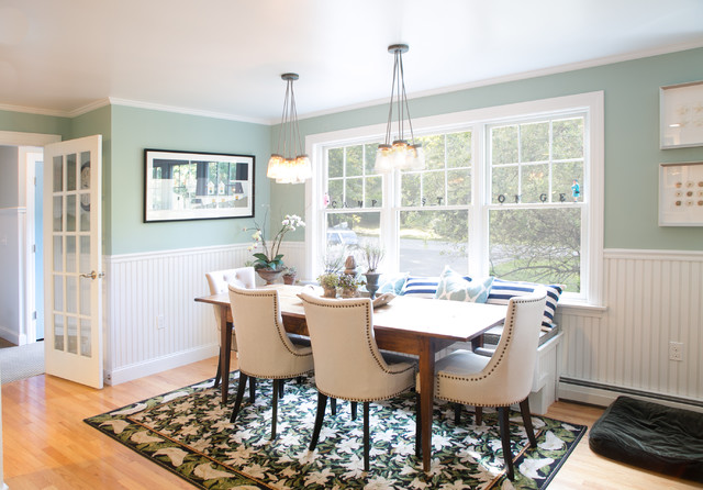 Eat in Window Bench Seating Transitional Dining Room