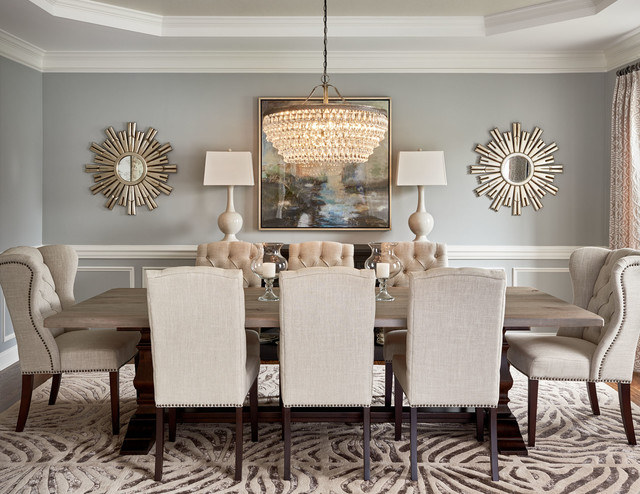 Lovely Transitional Dining Room Photo In Charlotte With Gray Walls And A Standard  Fireplace