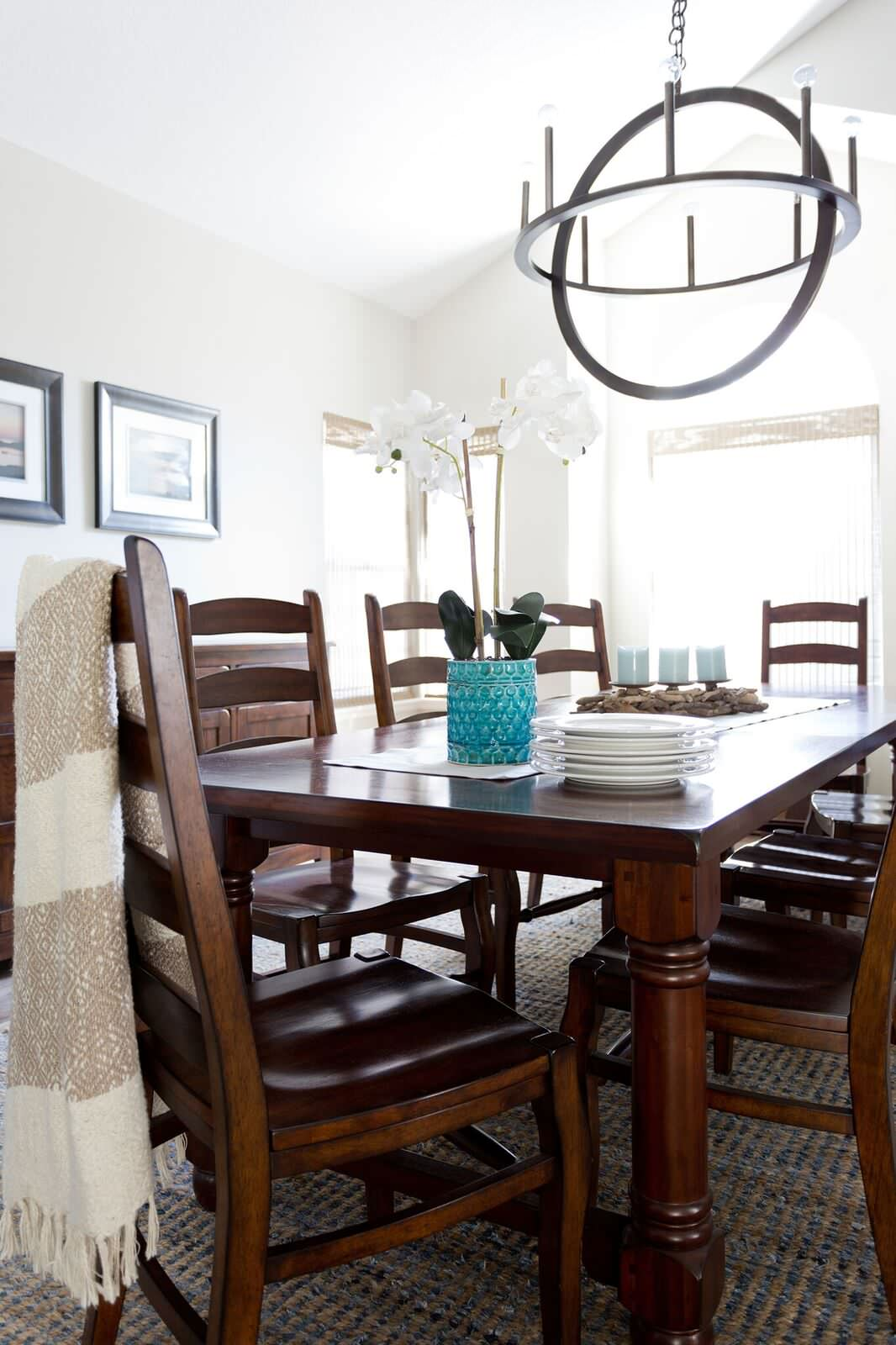Transitional Open Concept Kitchen Dining and Living Room